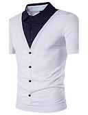 זול חולצות פולו לגברים-קולור בלוק צווארון חולצה סגנון רחוב Polo - בגדי ריקוד גברים / שרוולים קצרים
