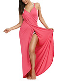 رخيصةأون فساتين للنساء-فستان نسائي ثوب ضيق راقي طويل للأرض لون سادة مع حمالة مناسب للعطلات / شاطئ