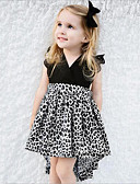 cheap Girls' Dresses-Girl's Daily Going out Animal Print Patchwork Dress,Rayon Polyester Summer Sleeveless Lace Bow Black