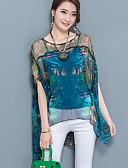 baratos Blusas Femininas-Mulheres Blusa Camadas Com Transparência Estampado Fibra Sintética