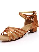abordables Sombreros de mujer-Mujer Zapatos de Baile Latino Seda Sandalia Corbata de Lazo Tacón Cuadrado Personalizables Zapatos de baile Marrón / Leopardo / Nudo / Interior / Cuero