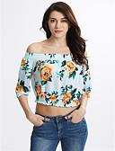 preiswerte Bluse-Damen Blumen Baumwolle Bluse, Bateau