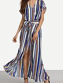 olcso Női ruhák-Swing Ruha Női Tengerpart Szabadság,Csíkos V-alakú Maxi Rövid ujjú Műselyem Nyári Magas derekú Mikroelasztikus Vékony