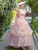 olcso Menyasszonyi ruhák-Báli ruha Pánt nélküli Bokáig érő Organza Made-to-Meature esküvői ruhák val vel Gyöngy / Hosszú szoknya / Virág által LAN TING BRIDE®