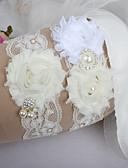 baratos Vestidos para Daminhas de Honra-Renda Clássico Fashion Wedding Garter  -  Penas Pérolas Sintéticas Cadarço de Borracha Fitas Coração Flor Ocasião Especial