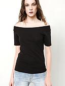 preiswerte T-Shirt-Damen Solide Ausgehen Baumwolle T-shirt, Bateau / Sommer