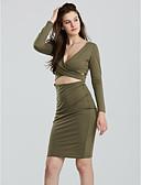 hesapli Kadın Elbiseleri-Kadın's Parti Bandaj Elbise - Solid, Şalter Haç Desenli Derin V Diz-boyu