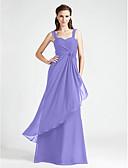 hesapli Nedime Elbiseleri-A-Şekilli / Prenses sapanlar Yere Kadar Şifon Haç / Kırma Dantel / Çiçekli ile Nedime Elbisesi tarafından LAN TING BRIDE®