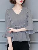 ieftine Cămașă-Pentru femei În V Bluză Dungi / Vară / Manșon flare / Stripe fină