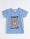 お買い得  ガールズファッション-男女兼用 日常 ストライプ アニマルプリント コットン Tシャツ 夏 半袖 ブルー