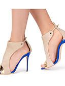 baratos Tops Femininos-Mulheres Sapatos Sintéticos Primavera / Verão Chanel Sandálias Salto Agulha Peep Toe Presilha / Combinação Azul / Casamento / Festas & Noite / Festas & Noite