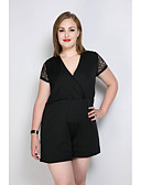 cheap Women's Jumpsuits & Rompers-Really Love Women's Plus Size Club Work Vintage Romper - Solid Color Lace Fashion, Lace Patchwork V Neck