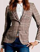 رخيصةأون قمصان نسائية-قطن نسائي بني L XL XXL جاكيت لون مختلط طباعة V رقبة