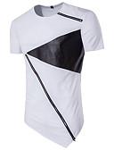 baratos Camisetas & Regatas Masculinas-Homens Camiseta - Esportes Punk & Góticas Moda de Rua Estampa Colorida Algodão Decote Redondo Delgado Preto & Branco