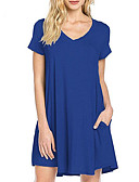 cheap Women's Blouses-Women's Cotton Loose Dress - Solid Colored V Neck