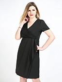 baratos Vestidos Femininos-Mulheres Tamanhos Grandes Vintage Reto / Bainha / Túnicas Vestido - Franzido, Sólido Decote V Altura dos Joelhos