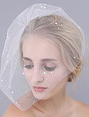 cheap Wedding Veils-One-tier Cut Edge Wedding Veil Blusher Veils 53 Pearl Tulle