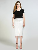 cheap Women's Skirts-Really Love Women's Work Cute Plus Size Pencil Skirts - Solid Colored Split
