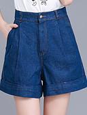ieftine Pantaloni de Damă-Pentru femei Mărime Plus Size Bumbac Picior Larg / Blugi / Pantaloni Scurți Pantaloni - Mată Plisată Albastru piscină