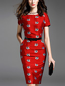 tanie Casualowe sukienki-Damskie Wyrafinowany styl Spodnie - Zwierzę Czerwony, Nadruk Czerwony / Szczupła