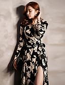 رخيصةأون فساتين للنساء-طويل للأرض رقبة V مفصول / طباعة فستان فضفاض قطن أناقة الشارع للمرأة / ربيع / صيف / الأزهار، النماذج