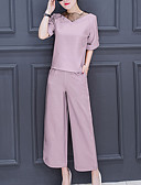 cheap Women's Two Piece Sets-Women's Party Daily Going out Sexy Street chic Sophisticated Solid Round Neck Pant Half Sleeves Spring Summer Fall