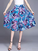baratos Calças Femininas-Mulheres Tamanhos Grandes Perna larga / Chinos Calças Chifon / Estampado Azul