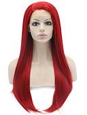 hesapli Elbise Saat-Sentetik Dantel Ön Peruk Düz Kırmızı Kırmızı Sentetik Saç Kadın's Doğal saç çizgisi Kırmızı Peruk Uzun Ön Dantel