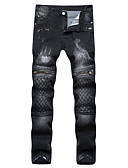 cheap Men's Pants & Shorts-Men's Street chic / Punk & Gothic Plus Size Cotton Slim Straight / Jeans Pants - Lines / Waves / Grid / Plaid Patterns / Embroidered Check Pattern / Weekend