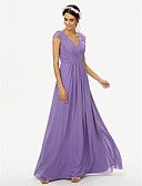 cheap Bridesmaid Dresses-A-Line V Neck Floor Length Chiffon Lace Bridesmaid Dress with Lace Pleats Criss Cross by LAN TING BRIDE®