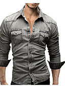 cheap Men's Shirts-Men's Street chic Cotton Shirt - Solid Colored / Long Sleeve