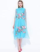 baratos Vestidos Femininos-Mulheres Vintage / Moda de Rua / Boho Evasê Vestido Sólido / Floral / Bordado Colarinho Chinês Médio