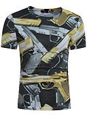 baratos Camisetas & Regatas Masculinas-Homens Camiseta Estampado Algodão Decote Redondo