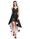 cheap Prom Dresses-A-Line Spaghetti Strap Asymmetrical Stretch Satin Little Black Dress Cocktail Party / Prom Dress with Pleats by TS Couture®