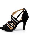 cheap Women's Jumpsuits & Rompers-Women's Flocking Sandal Buckle Stiletto Heel Customizable Dance Shoes Black / Practice