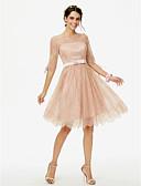 preiswerte Brautjungfernkleider-Prinzessin Schmuck Knie-Länge Überall Spitze Brautjungfernkleid mit Schleife(n) Mit Bändern und Schleifen durch LAN TING BRIDE®