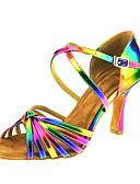hesapli Print Dresses-Kadın's Tüylü Latin Dans Ayakkabıları Toka / Haç Sandaletler Küba Topuk Kişiselleştirilmiş Gökküşağı / Performans / Deri / EU41