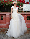 cheap Wedding Dresses-A-Line V Neck Floor Length Lace Over Tulle Made-To-Measure Wedding Dresses with Appliques / Sash / Ribbon by LAN TING BRIDE®