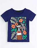 preiswerte Mode für Mädchen-Mädchen T-Shirt Geometrisch Baumwolle Sommer Kurzarm Blau