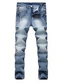 baratos Calças e Shorts Masculinos-Homens Moda de Rua / Punk & Góticas Tamanhos Grandes Algodão Reto / Delgado / Jeans Calças - Sólido