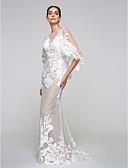olcso Menyasszonyi ruhák-Sellő fazon V-alakú Seprő uszály Tüll / Sima csipke / Csipke tüllön Made-to-measure esküvői ruhák val vel Rátétek által LAN TING BRIDE® / Átlátszó