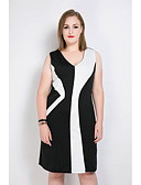 cheap Women's Dresses-Women's Plus Size Vintage / Street chic Shift / Sheath / Black and White Dress - Color Block / Patchwork V Neck