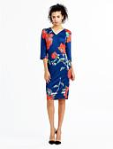 baratos Vestidos de Mulher-Mulheres Fofo Bainha Vestido Floral Altura dos Joelhos