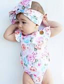 baratos Macacões & Bodies de Bebê-bebê Para Meninas Floral Moderno / Vintage Estampado Sem Manga Algodão Maiô / Bébé