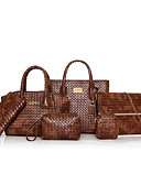 cheap Women's Sweaters-Women's Bags PU(Polyurethane) Bag Set 6 Pieces Purse Set Zipper Black / Red / Brown / Bag Sets
