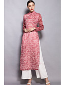 baratos Macacões e Macaquinhos para Mulheres-Mulheres Temática Asiática Camisa Social - Fenda / Estampado Calça Colarinho Chinês