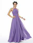 cheap Evening Dresses-A-Line Jewel Neck Floor Length Chiffon Bridesmaid Dress with Pleats Criss Cross by LAN TING BRIDE®