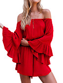 cheap Women's Jumpsuits & Rompers-Women's Flare Sleeve Romper - Solid, Ruffle Off Shoulder