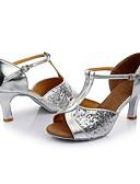 זול 2017ביקיני ובגדי ים-בגדי ריקוד נשים נעליים לטיניות Paillette סנדלים נצנצים עקב מותאם מותאם אישית נעלי ריקוד כסף / בבית / עור