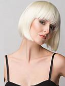 economico Completi-Parrucche sintetiche Per donna Liscio Biondo Taglio medio corto / Con frangia Capelli sintetici Con Bangs Biondo Parrucca Medio Senza tappo Biondo
